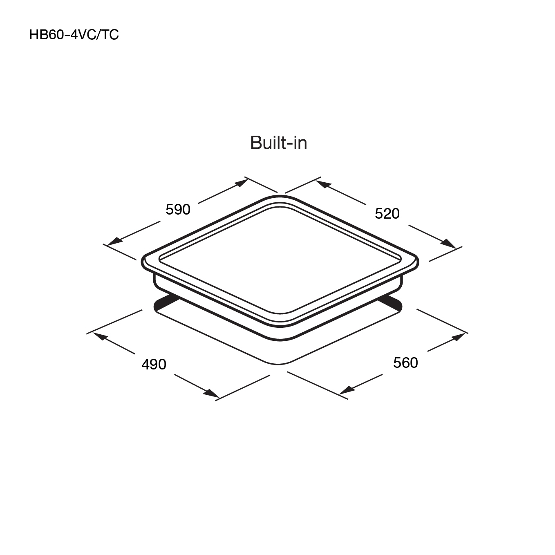 เตาเซรามิค เตาไฟฟ้าเซรามิค 4 หัว แบบฝัง HB60-4VC/TC