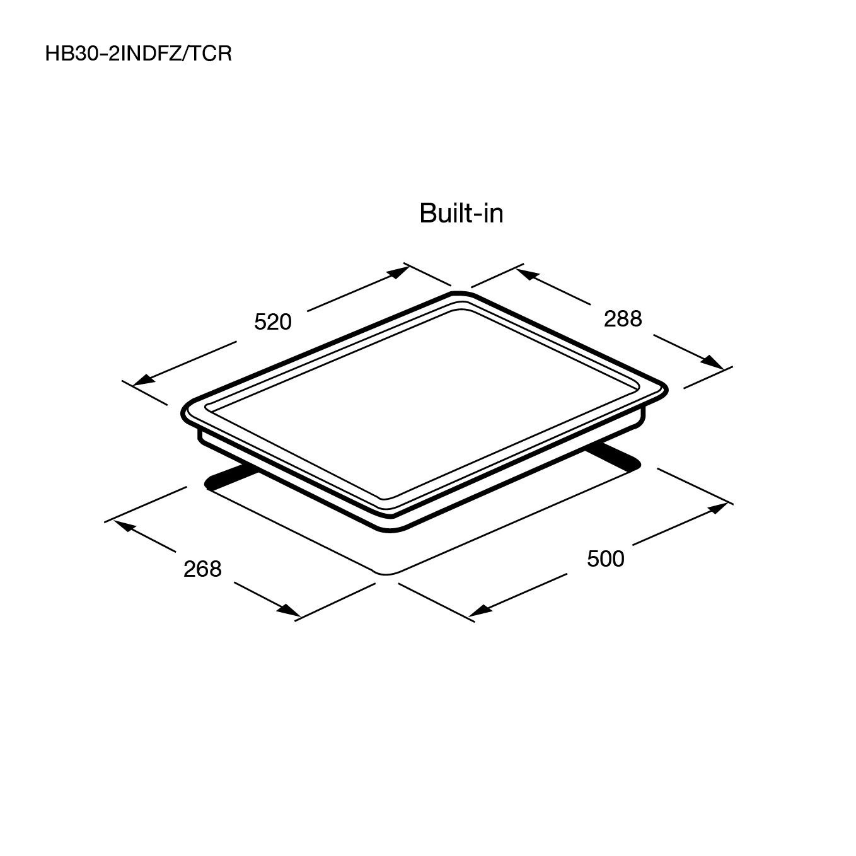 เตาแม่เหล็กไฟฟ้า 2 หัว แบบฝัง (เตา induction) HB30-2INDFZ/TCR