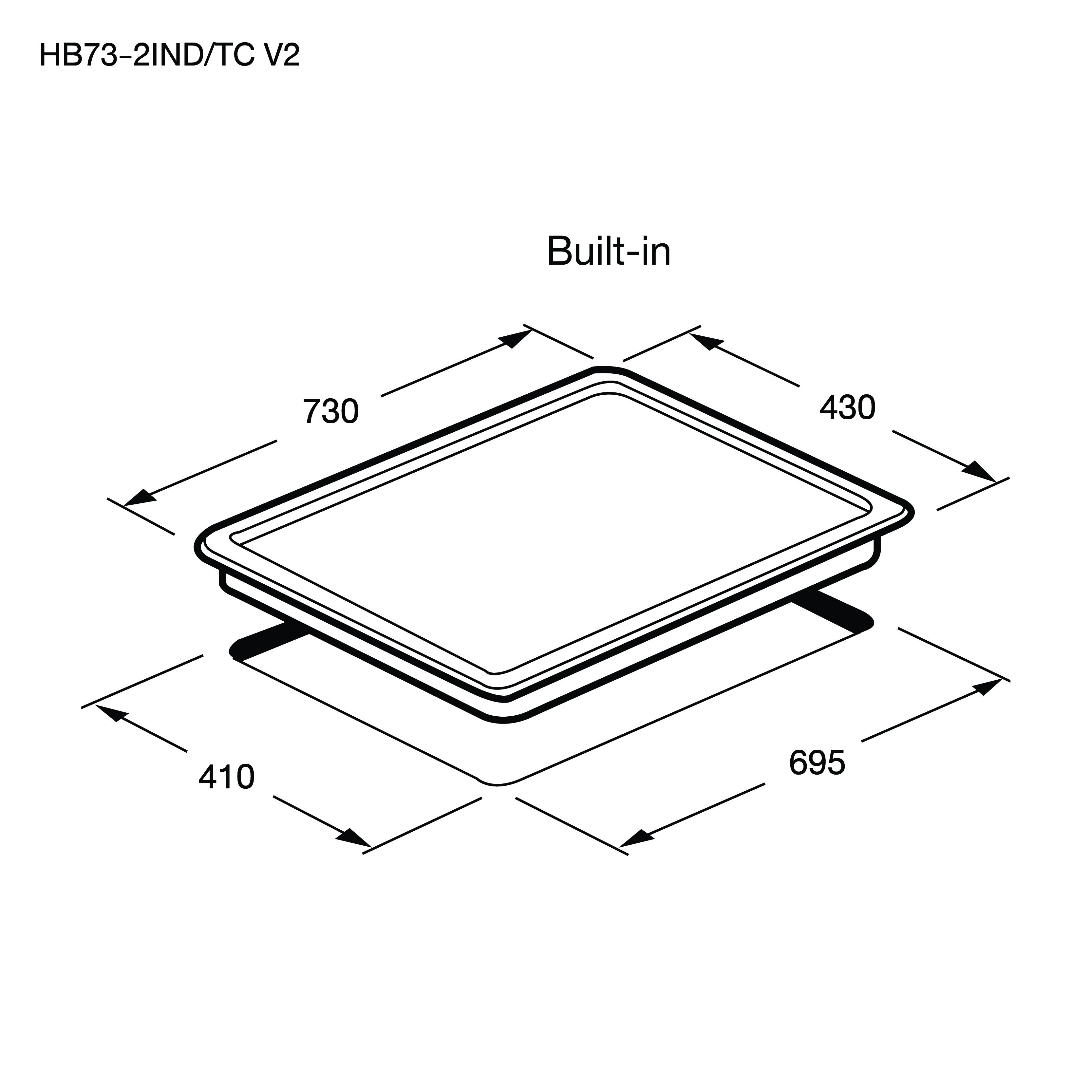 เตาแม่เหล็กไฟฟ้า 2 หัว แบบฝัง (เตา induction) HB73-2IND/TC