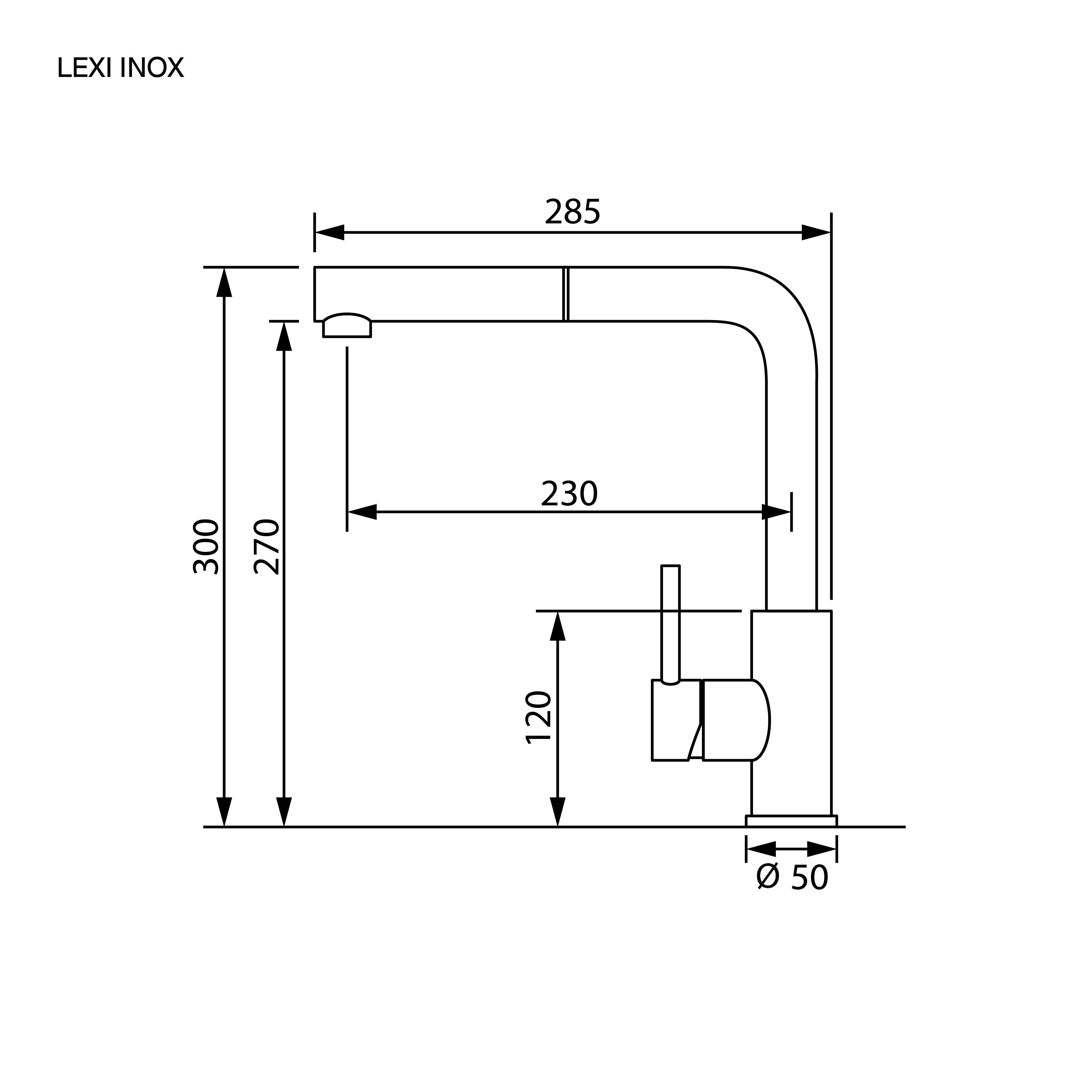 ก๊อกน้ำอ่างล้างจาน ก๊อกน้ำสแตนเลส ก๊อกน้ำ 2 ทาง LEXI INOX