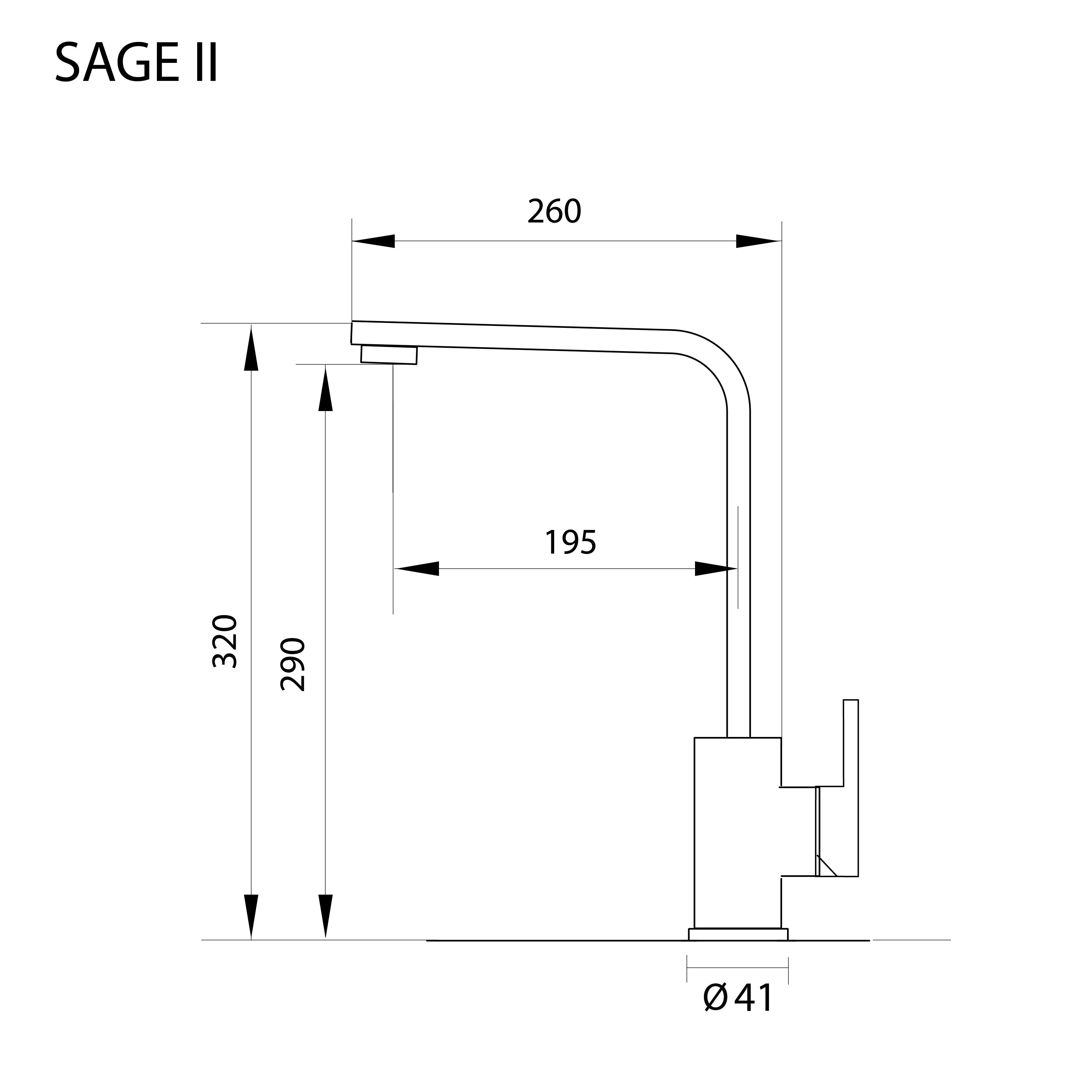 ก๊อกน้ำอ่างล้างจาน ก๊อกน้ำสแตนเลส ก๊อกน้ำ 2 ทาง SAGE II