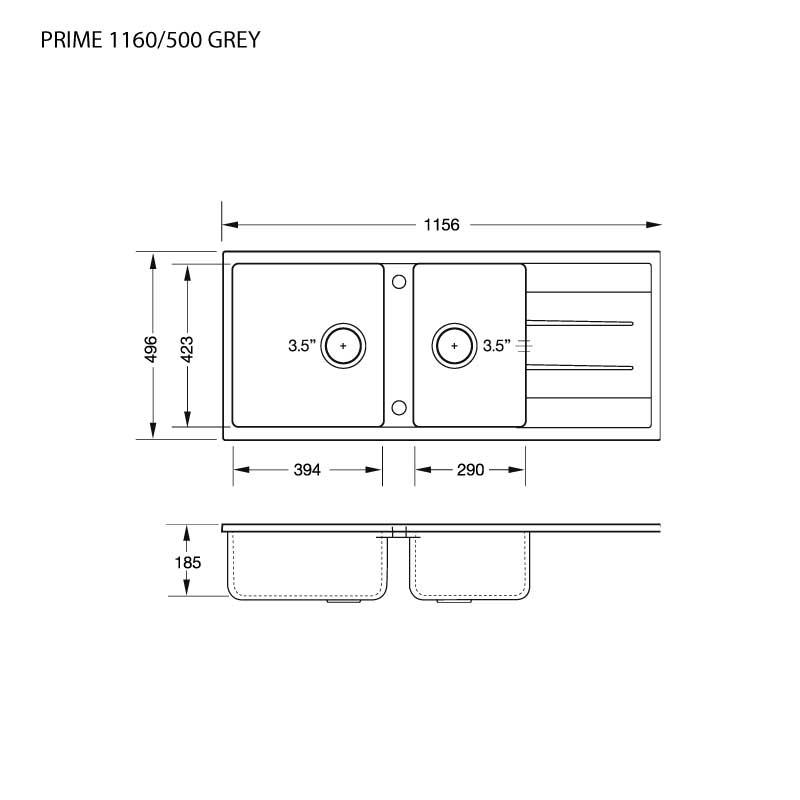 Technical Drawing  ซิงค์ล้างจาน 2 หลุม หินแกรนิต มีที่พัก ยี่ห้อ eve รุ่น PRIME 1160/500