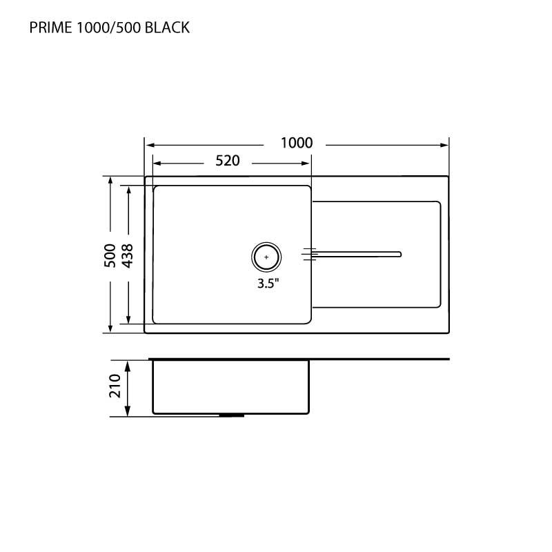 Technical Drawing ซิงค์ล้างจาน 1 หลุม หินแกรนิต มีที่พัก ยี่ห้อ eve รุ่น PRIME 1000/500