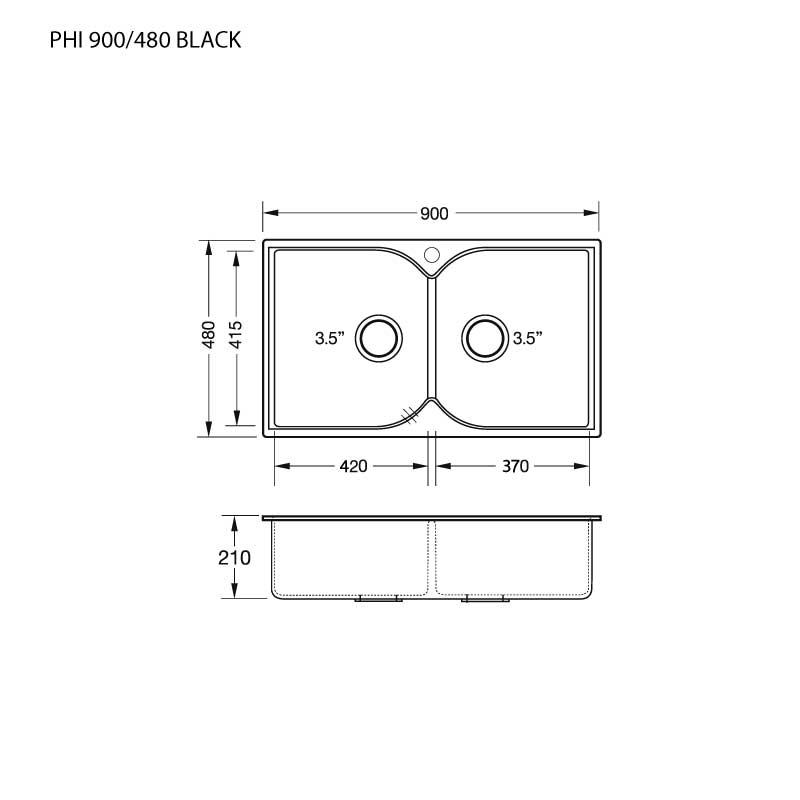 Technical Drawing ซิงค์ล้างจาน 2 หลุม หินแกรนิต ไม่มีที่พัก ยี่ห้อ eve รุ่น PRIME PHI 900/480