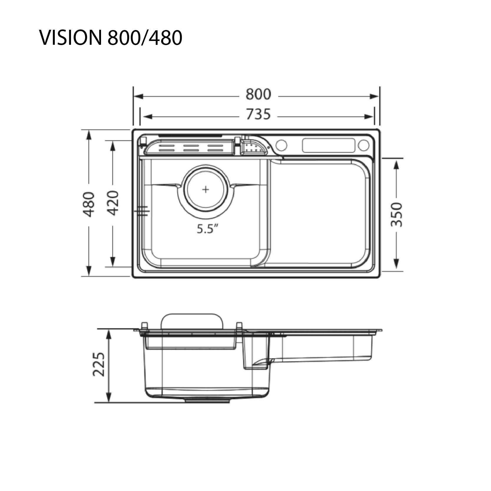 ซิงค์ล้างจาน 1 หลุม VISION 800/480 ขนาดเจาะ