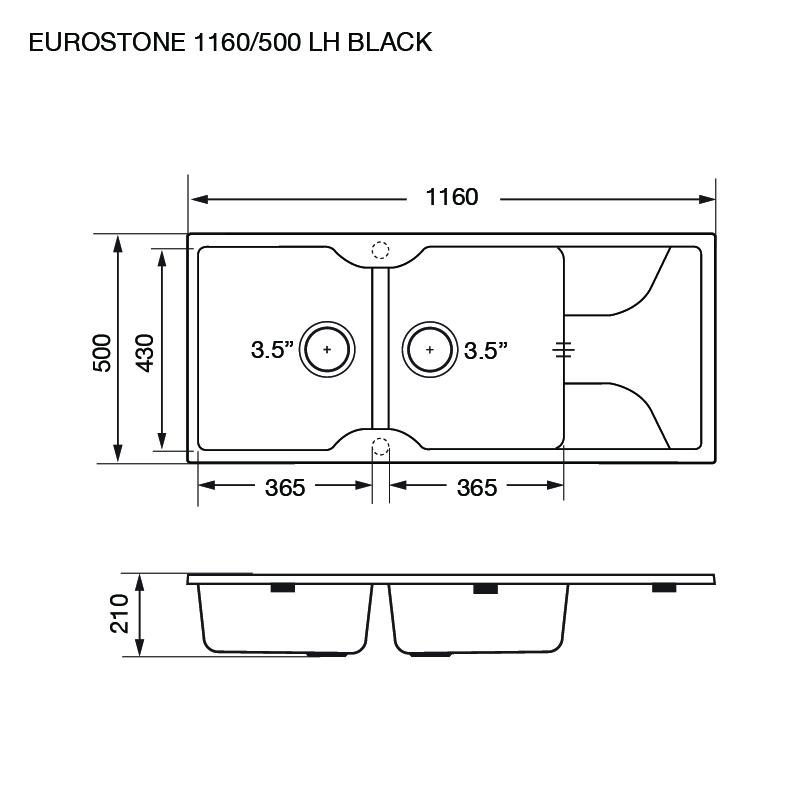 ซิงค์ล้างจาน 2 หลุม หินแกรนิตสีดำ มีที่พัก eve รุ่น EUROSTONE 1160/500 BLACK