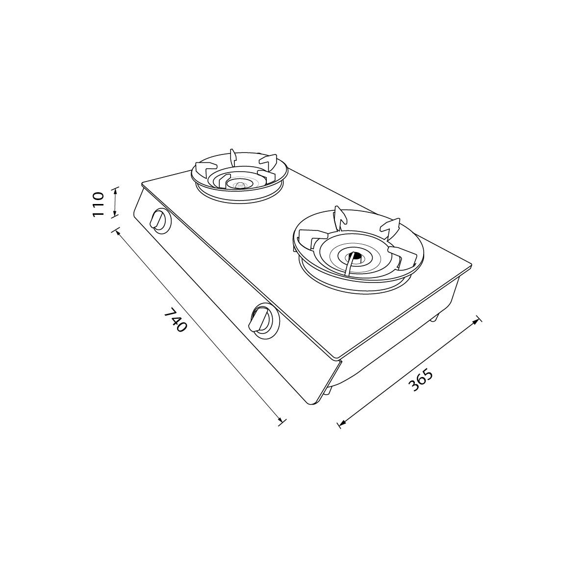 เตาแก๊ส 2 หัว เตาแก๊สตั้งโต๊ะ หัวเตาแก๊สผสมหัวเตาอินฟราเรด  HP75-1Q1SIR/FGB