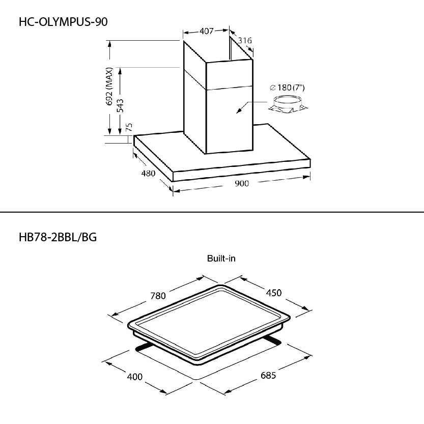 SET เตาแก๊ส 2 หัว HB78-2BBL/BG + เครื่องดูดควัน HC-OLYMPUS-90