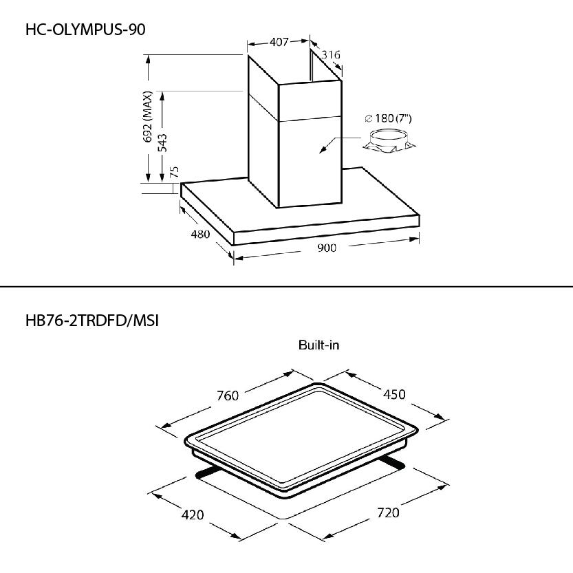 SET เตาแก๊ส 2 หัว HB76-2TRDFD/MSI + เครื่องดูดควัน HC-OLYMPUS-90