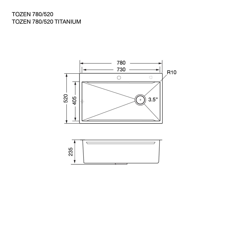 ซิงค์ล้างจาน TOZEN 780/520 TITANIUM (ผิวไทเทเนียม)