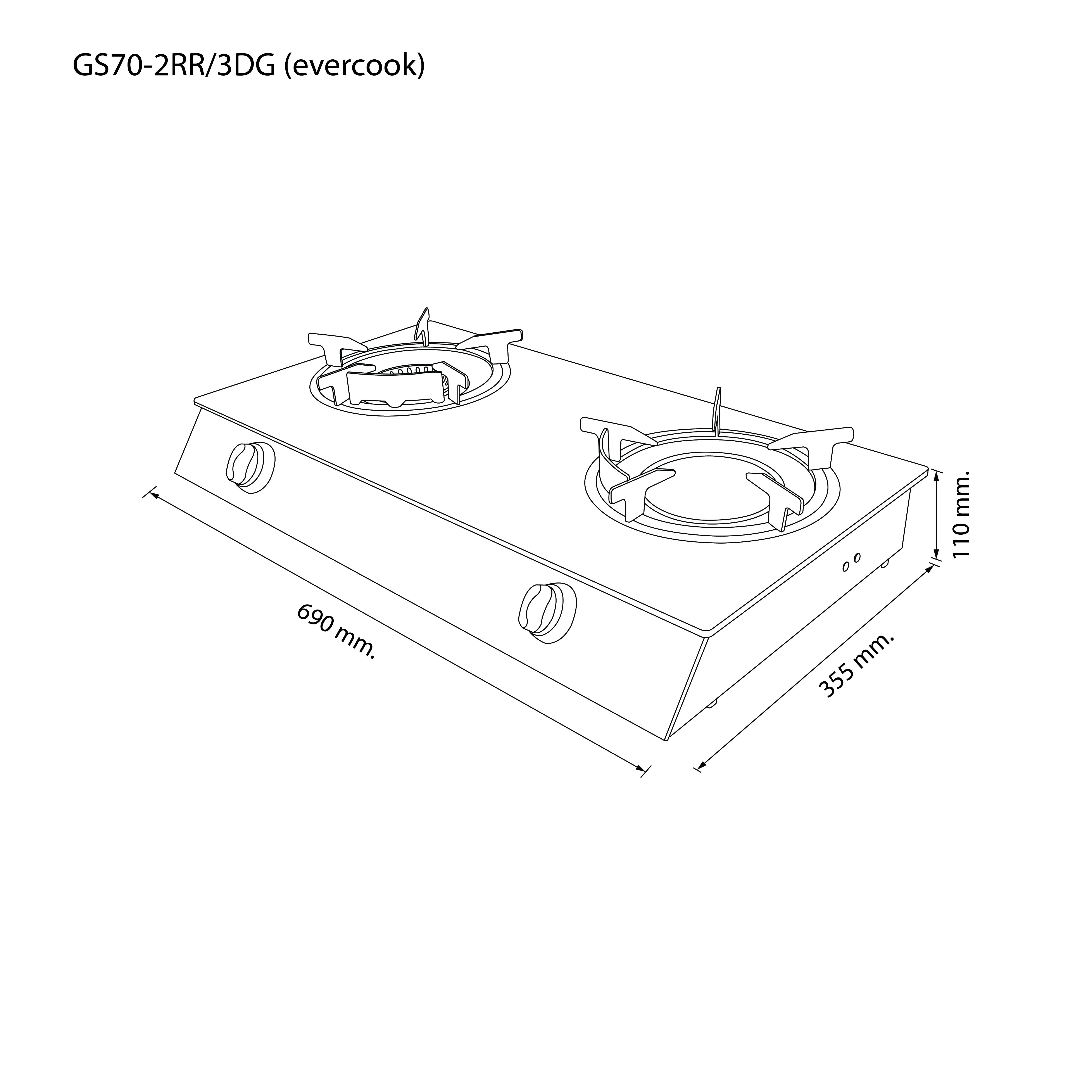 เตาแก๊ส 2 หัว เตาแก๊สตั้งโต๊ะ หัวเตาแก๊ส GS70-2RR/3DG (evercook)