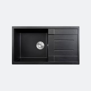 ซิงค์ล้างจาน 1 หลุม หินแกรนิต มีที่พัก eve รุ่น PRIME 860/500 สีดำ