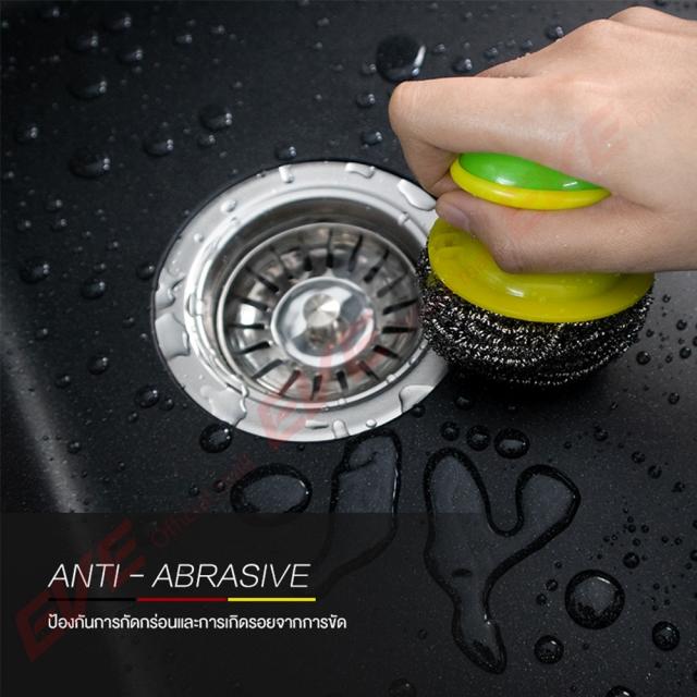 ซิงค์ล้างจาน 2 หลุม หินแกรนิต ยี่ห้อ eve รุ่น PRIME PHI 900/480 มี ANTI ABRASIVE ป้องกันการกัดกร่อนและการเกิดรอยจากการขัด