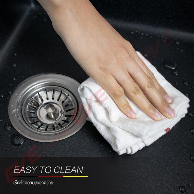 ซิงค์ล้างจาน 2 หลุม หินแกรนิต ยี่ห้อ eve รุ่น PRIME PHI 900/480 EASY TO CLEAN เช็ดทำความสะอาดง่าย