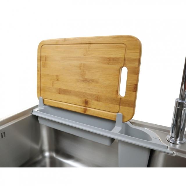 ซิงค์ล้างจาน 1 หลุม VISION 800/480 ที่วางเขียงไม้