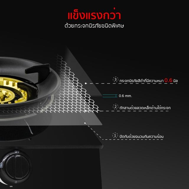 เตาแก๊ส 2 หัว เตาแก๊สตั้งโต๊ะ หัวเตาแก๊ส HP75-2Q/FGB