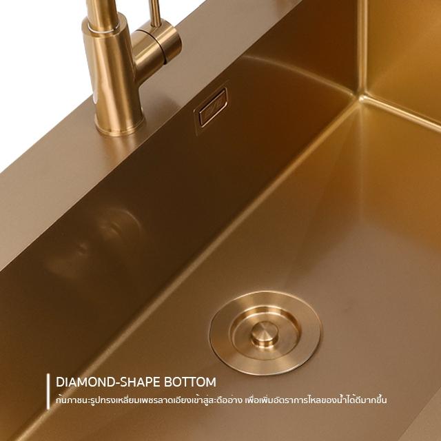 ซิงค์ล้างจาน 1 หลุม ROSEGOLD 810/520 สีโรสโกลว์